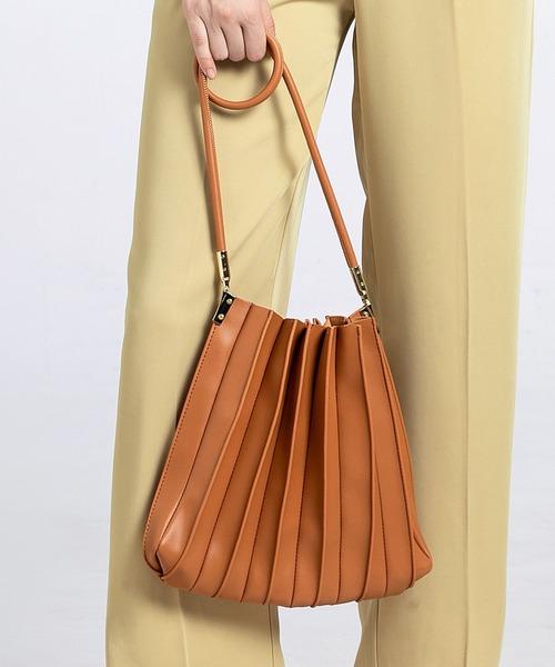 SMILE ORCHID(スマイルオーキッド)の「プリーツ バッグ トートバッグ  プリーツバッグ(トートバッグ)」|キャメル
