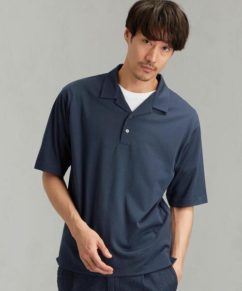 CM ☆ドライ ウールミックス オープン カラー ポロシャツ