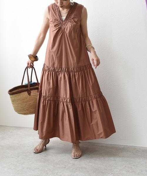 ピンタックシャーリングギャザードレス