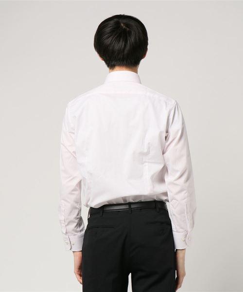 タカキューメンズ/TAKA-Q:Men 形態安定(ノーアイロン)パイピング使いピンクドビーボタンダウンビジネスドレス長袖シャツ