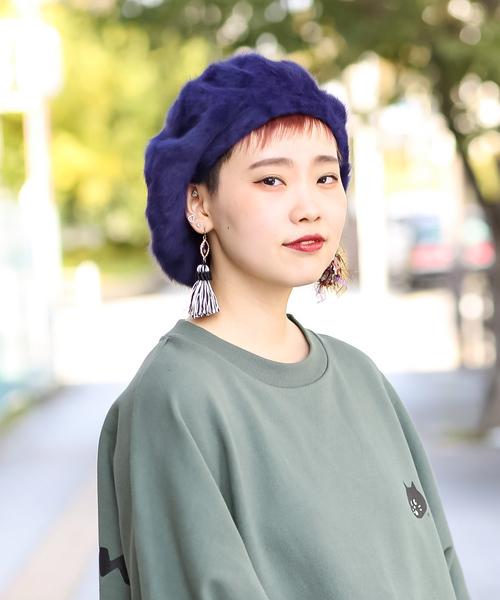 無(ム)の「シャギーベレー(ハンチング/ベレー帽)」|ネイビー