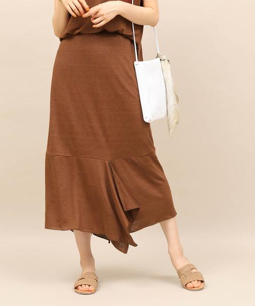 入荷中 【セール】【セットアップ対応】麻混ジャージー切替スカート(スカート) ROPE