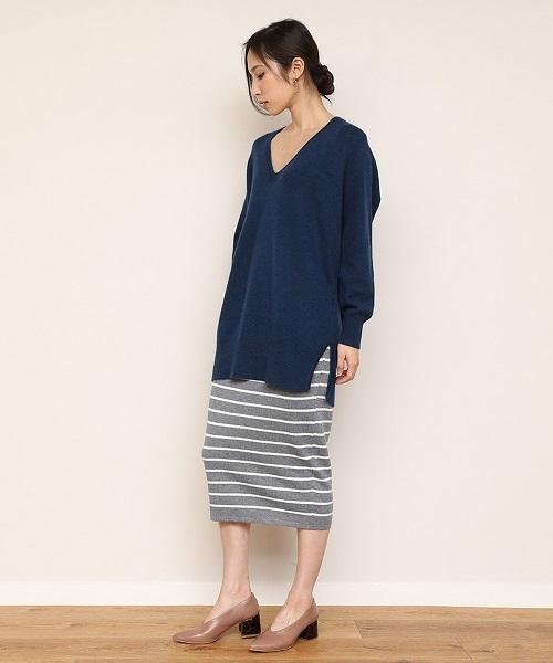 【STYLEBAR】ニットボーダースカート