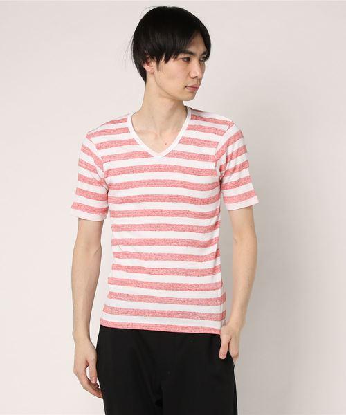 world exe / テレコボーダーVネックTシャツ