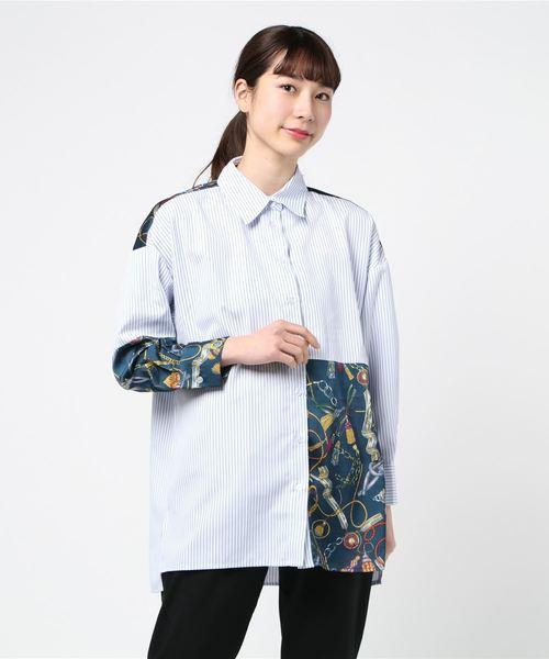 先染ストライプ×デシンスカーフ柄 配色シャツ