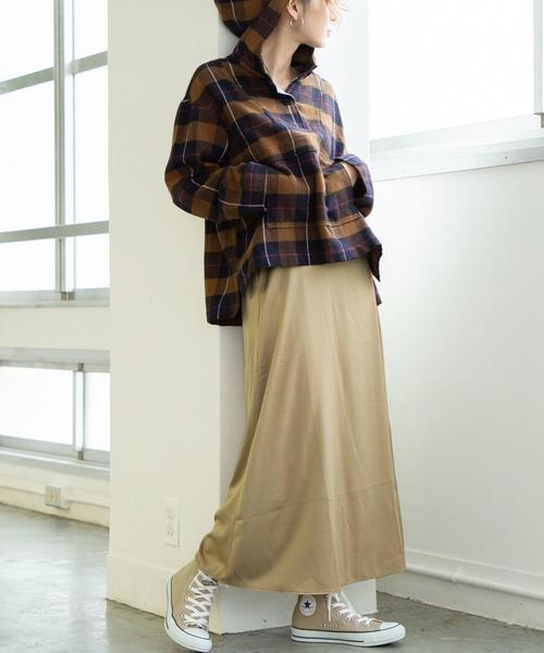 【新色:ワインレッド登場】パウダータッチサテンロングスカート