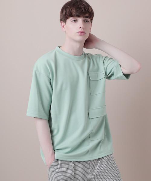ポンチローマオーバーサイズマルチフラップポケットカットソー 半袖 (EMMA CLOTHES)
