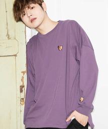 ファッションインフルエンサー SHOTA × BASQUE magenta オーバーサイズ バタフライ刺繍長袖カットソーパープル