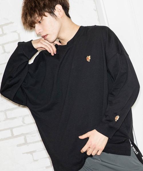 ファッションインフルエンサー SHOTA × BASQUE magenta オーバーサイズ バタフライ刺繍長袖カットソー