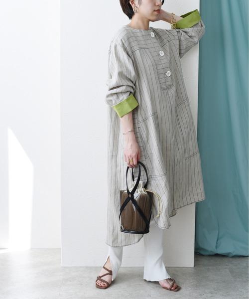 リネンストライプ釦デザインシャツドレス