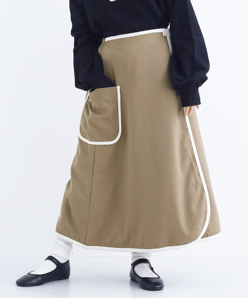 バイカラーパイピングフレアスカート2049