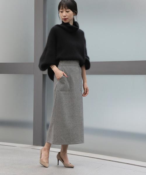 TIARA(ティアラ)の「千鳥後ろゴムタイトスカート(スカート)」|ホワイト×ブラック
