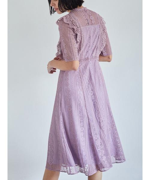 TONAL(トーナル)の「レースパッチワークドレス(ワンピース)」|ラベンダー