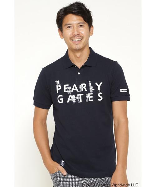PEARLY GATES(パーリーゲイツ)の「【SNOOPY】SNOOPY 2段ロゴ カノコ 半袖 ポロシャツ(ポロシャツ)」 ネイビー