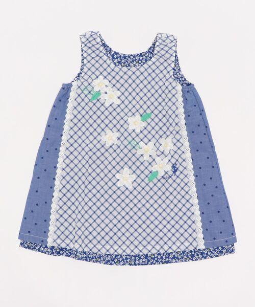 チェック×小花柄のリバーシブルジャンパースカート(100-130cm)
