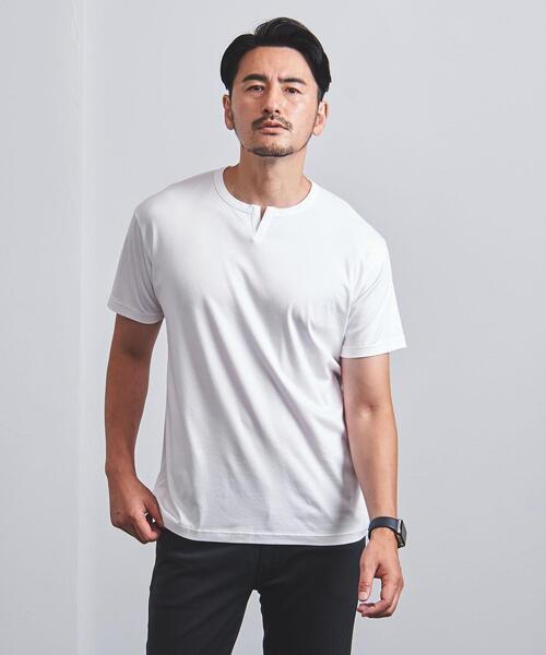 【WEB限定】<UNITED ARROWS> スムース ヘンリーネック Tシャツ