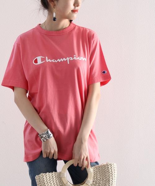 【Champion/チャンピオン】ワンプリントミドル丈クルーネック半袖Tシャツ
