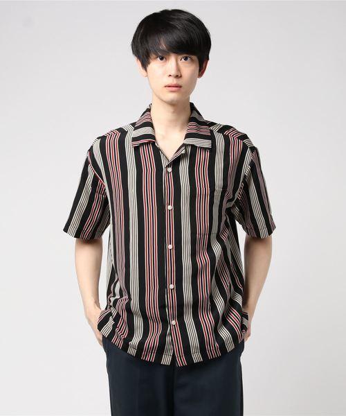 ビッグシルエットマルチストライプオープンカラー半袖シャツ(IR)