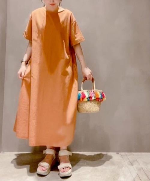 koe(コエ)の「リネン半袖ボリュームワンピース*(ワンピース)」|オレンジ