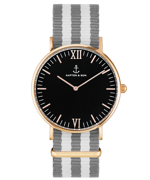 【正規通販】 【セール】【KAPTEN&SON】ローズゴールド 36mm ブラック ナイロンバンド(腕時計) KAPTEN&SON(キャプテンアンドサン)のファッション通販, ジュエリーミュージアム:bd240304 --- pyme.pe