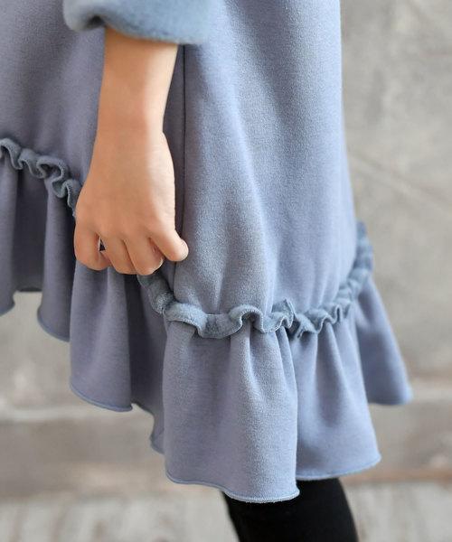【裏起毛】裾フレア パーカー ワンピース