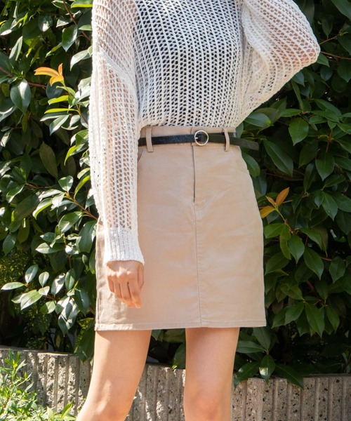 WEGO(ウィゴー)の「WEGO/【XS〜Lサイズ】デイリーツイルタイトミニスカート(スカート)」|ベージュ