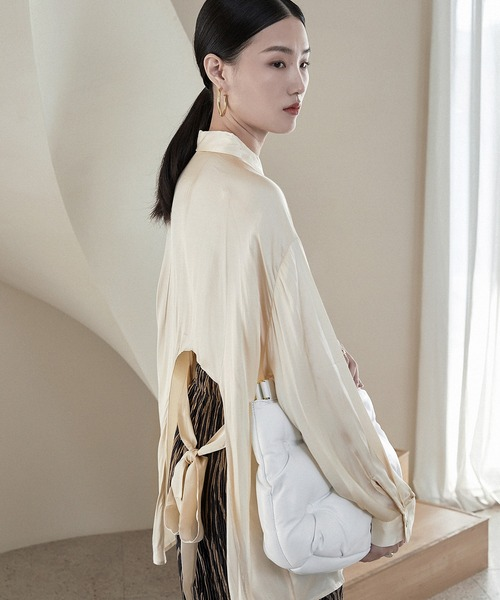 【chuclla】Back ribbon satin touch shirt sb-5 chw994