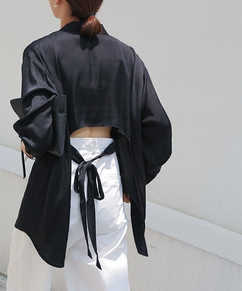 【chuclla】Back ribbon satin touch shirt sb-5 chw994