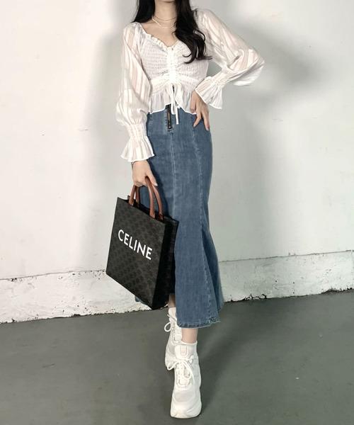 【ファッションインフルエンサーPOYO×titty&Co.】スリットマーメイドスカート