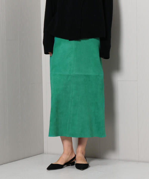<H>COLOR SUEDE SKIRT/スカート