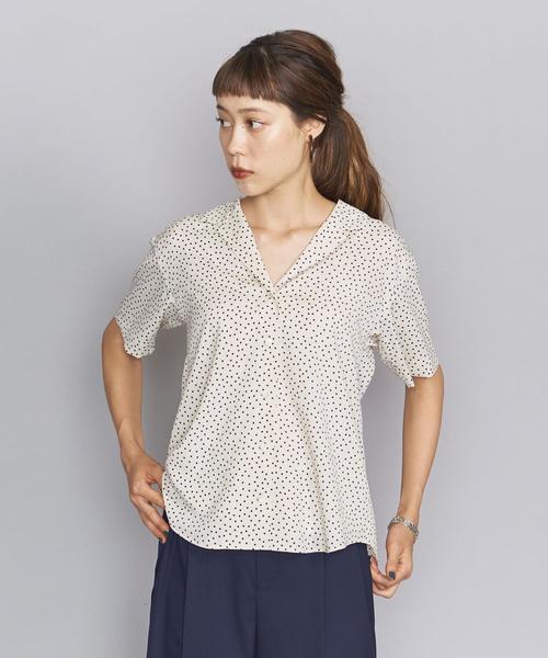 BY ドットプリントオープンカラーシャツ