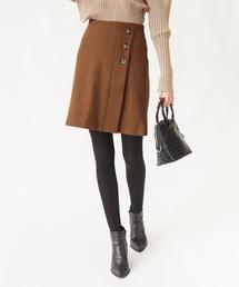 titivate(ティティベイト)のウール混フロント釦フェイクラップミニスカート(スカート)