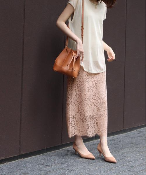 NOBLE(ノーブル)の「リバーレーススカート◆(スカート)」|ピンク