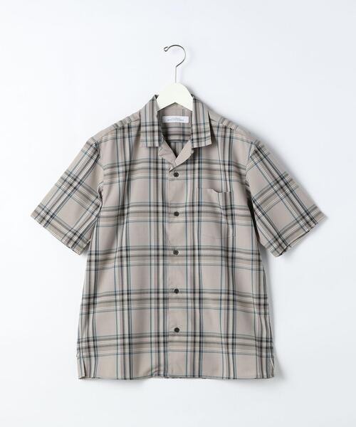 T/Wトロ チェック オープンカラー 半袖 シャツ < 機能性 / ストレッチ ウォッシャブル >#