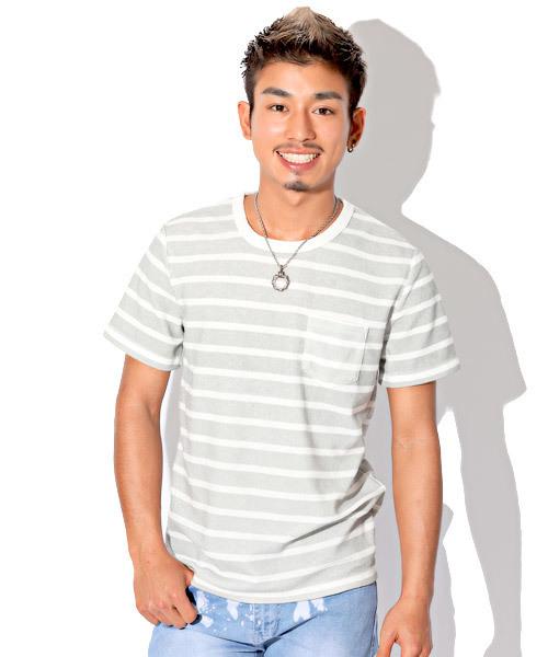 パイルボーダーポケットTシャツ