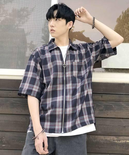 【BASQUE -enthusiastic design-】フルジップチェック柄BIGシャツ