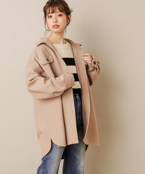 natural couture(ナチュラルクチュール)の「フェイクウールCPOジャケット(その他アウター)」|ベージュ