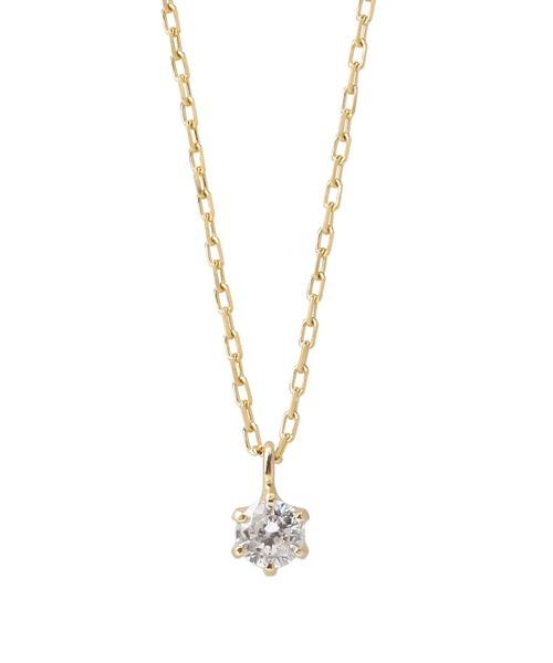 SIENA(シエナ)の「一粒ダイヤの18金ネックレス(ネックレス)」 イエローゴールド