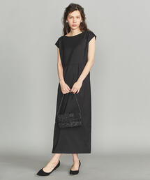 BY DRESS ツイルタックフレンチスリーブロングドレス ◆
