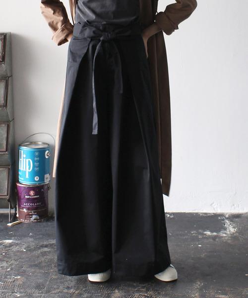 gabardine super wide pants(ウエストリボンスーパーワイドパンツ)