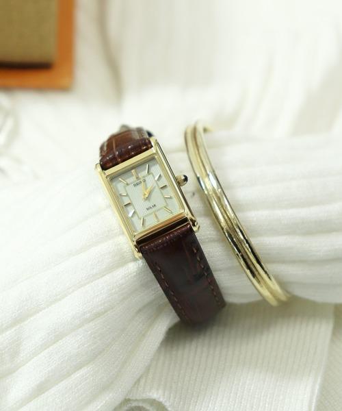 【 SEIKO / セイコー 】スクエア アナログ ソーラー腕時計  SUP250/SUP252 DKS
