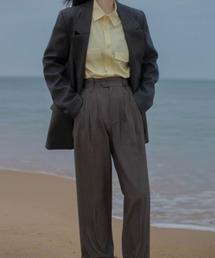 【LeonoraYang】High-waist tuck slacks chw1500ダークブラウン