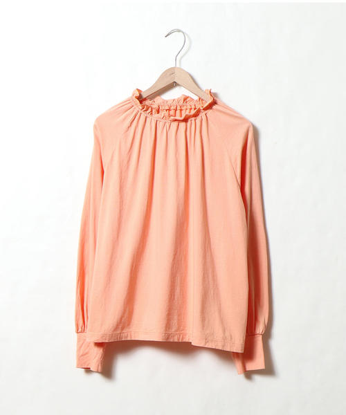 coen(コーエン)の「ギャザーネックカットソー(Tシャツ/カットソー)」|オレンジ
