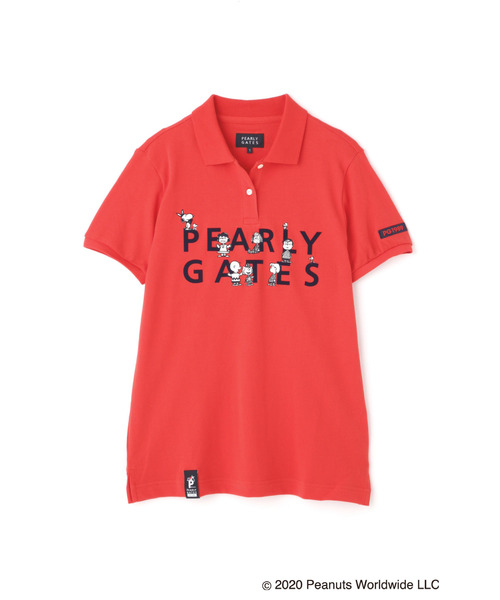 PEARLY GATES(パーリーゲイツ)の「【SNOOPY×PEARLY GATES】SNOOPY 2段ロゴ カノコ 半袖 ポロシャツ(ポロシャツ)」|レッド