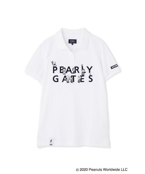 PEARLY GATES(パーリーゲイツ)の「【SNOOPY×PEARLY GATES】SNOOPY 2段ロゴ カノコ 半袖 ポロシャツ(ポロシャツ)」 ホワイト