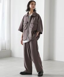 【セットアップ】TRストレッチ オーバーサイズ ビックポケット ジップシャツ(1/2 sleeve) & タックワイドパンツ -2021SUMMER-スモークグレー