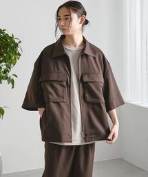 【セットアップ】TRストレッチ オーバーサイズ ビックポケット ジップシャツ(1/2 sleeve) & タックワイドパンツ -2021SUMMER-ダークブラウン