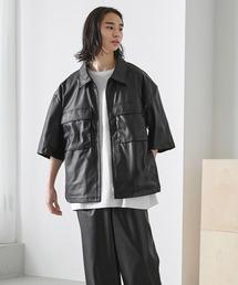 【セットアップ】TRストレッチ オーバーサイズ ビックポケット ジップシャツ(1/2 sleeve) & タックワイドパンツ -2021SUMMER-ブラック系その他