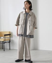 【セットアップ】TRストレッチ オーバーサイズ ビックポケット ジップシャツ(1/2 sleeve) & タックワイドパンツ -2021SUMMER-ベージュ系その他