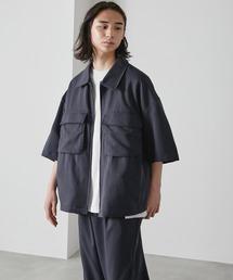 【セットアップ】TRストレッチ オーバーサイズ ビックポケット ジップシャツ(1/2 sleeve) & タックワイドパンツ -2021SUMMER-ネイビー